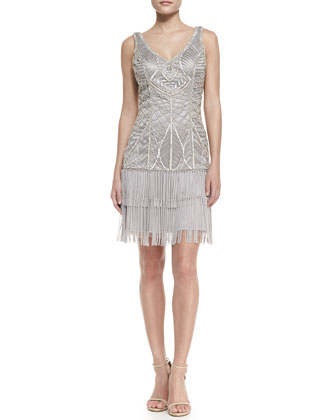 Sleeveless Embroidered Fringe-Hem Cocktail Dress, Platinum