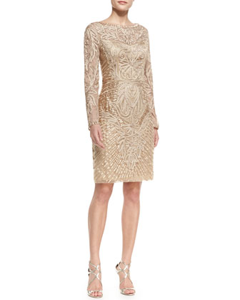 Long-Sleeve Embroidered Lace Cocktail Dress, Beige