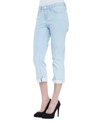 Valencia Denim Brooklyn Roll Pants, Ivory
