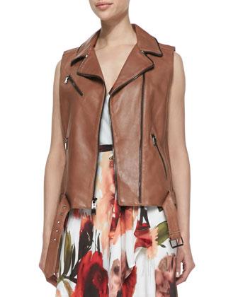 Belted-Hem Leather Zip Moto Vest