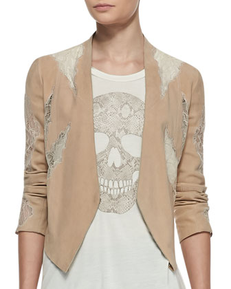 Suede Lace-Panel Drape Jacket and Python-Print-Skull Tank