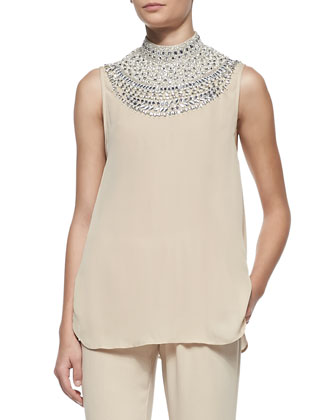 Sleeveless Embellished-Neck Top and Cuffed Drawstring Easy Pants