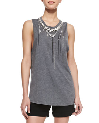 Sleeveless Necklace-Embellished Slub Top