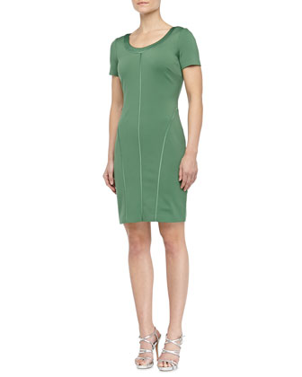 Scoop-Neck Ponte Dress, Loden