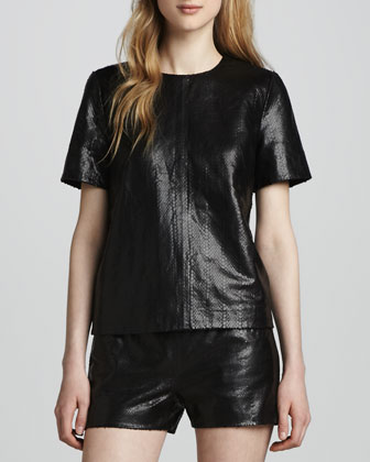 Marilena Snake-Print Leather Tee