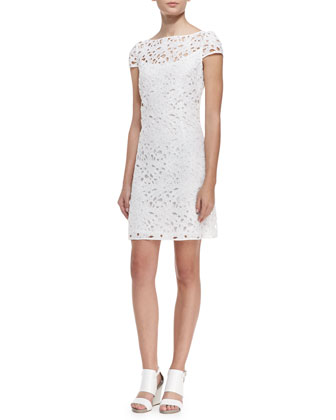 Cap-Sleeve Overlay Lace Dress, Optic White