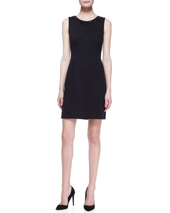 sleeveless beaded-neck sheath dress, black
