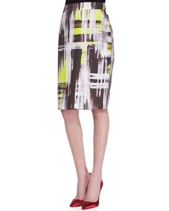 modern-print pencil skirt