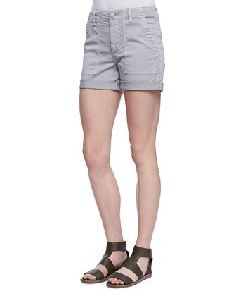 Cuffed Patch-Pocket Twill Shorts, Stonewash