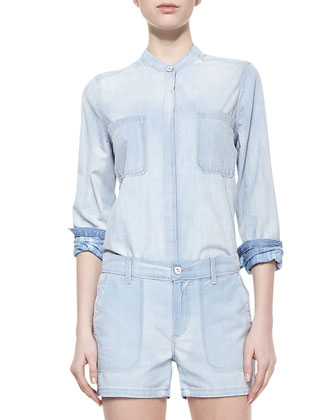 Placket-Front Chambray Shirt