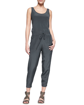 Sleeveless Charmeuse Drawstring Jumpsuit, Forge