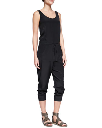 Sleeveless Charmeuse Drawstring Jumpsuit, Black