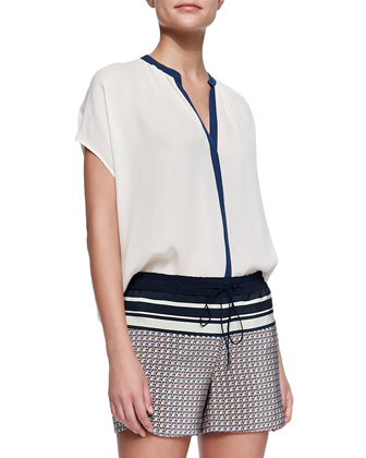 Contrast-Placket Silk Blouse