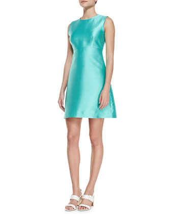 blakely sleeveless a-line dress, giverny blue