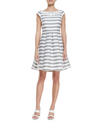 mariella striped beaded-neck dress, fresh white/casino gray