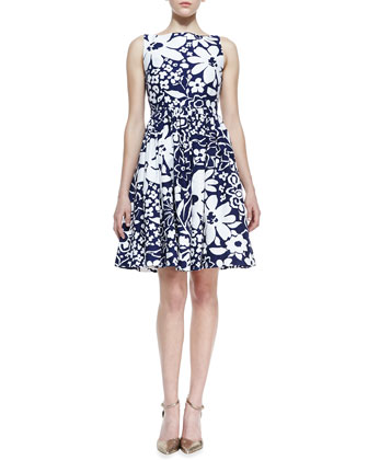 tanner sleeveless floral-print bow-back dress, french navy/white