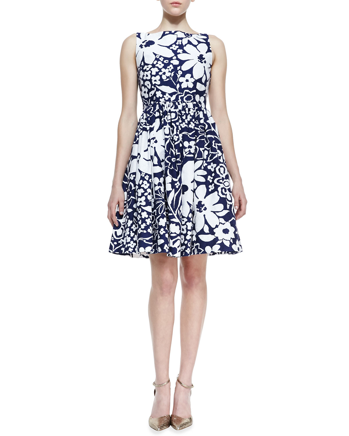 Womens tanner sleeveless floral print bow back dress, french navy/white   kate