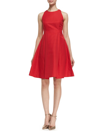 angelika sleeveless fit-and-flare dress, lacquer red