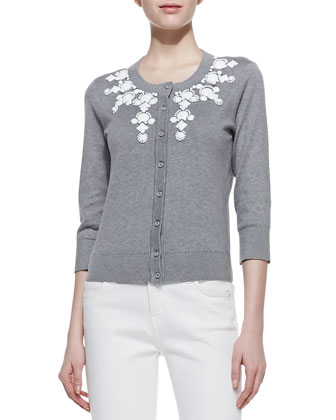 dree embellished collar cardigan, casino gray/white