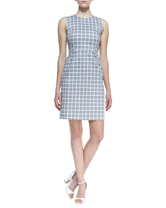 abbey sleeveless tile-print dress, gray/white