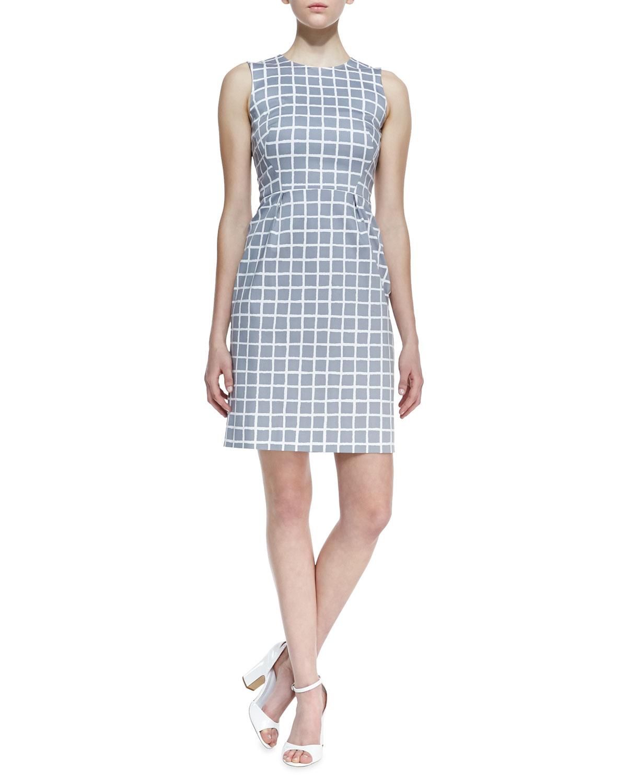 Womens abbey sleeveless tile print dress, gray/white   kate spade new york