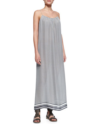 Striped-Hem Printed Silk Maxi Dress