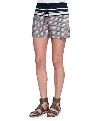 Striped Printed Silk Drawstring Shorts