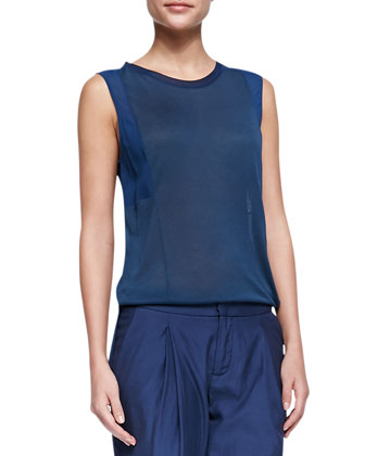 Mixed-Fabric Silk Muscle Tee & Pleated Zipper-Cuff Harem Pants