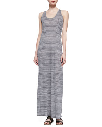 Slub Racerback Maxi Dress. Light Gray
