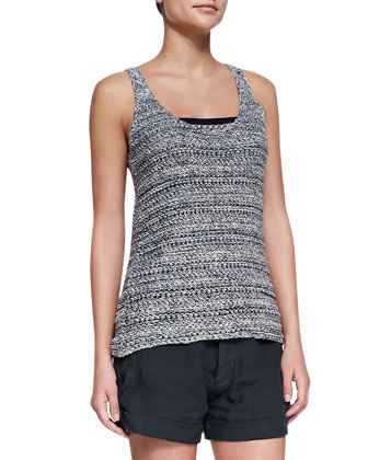 Knit Sweater Tank, Printed Silk Stripe-Hem Top & Cuffed Linen Shorts