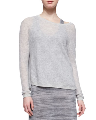 Lightweight Loose Cashmere Sweater, Stonewash
