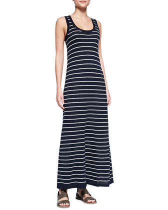 Striped Slub Sleeveless Maxi Dress, Coastal