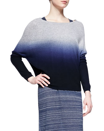 Ombre Long-Sleeve Knit Sweater, Coastal