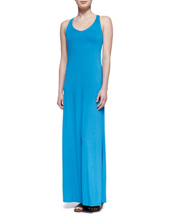 Sleeveless V-Neck Jersey Maxi Dress, Cote d'Azure