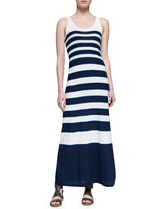 Graduating-Stripes Sleeveless Maxi Dress