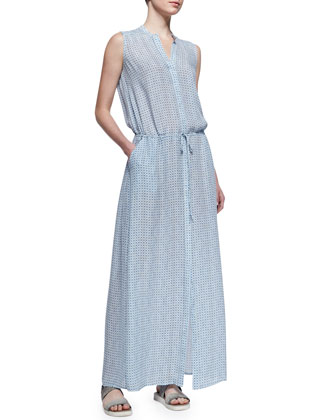 Button-Front Silk Maxi Dress, Blue