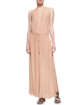 Button-Front Silk Maxi Dress, Coral