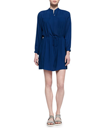 Drawstring-Waist Easy Shirtdress, Royal Blue