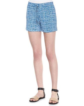 Static-Print Silk Drawstring Shorts