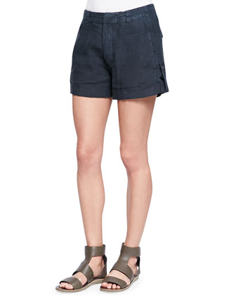 Cuffed Linen Shorts, Forge