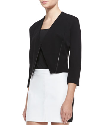 Monica Stretch Knit/Leather Jacket, Black