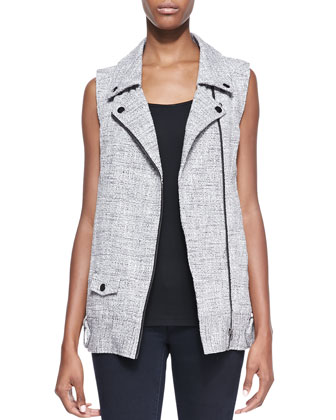 Alexa Tweed Moto Vest, Light Gray