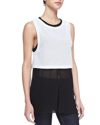 Mixed Media Two-Tone Tank, White/Black