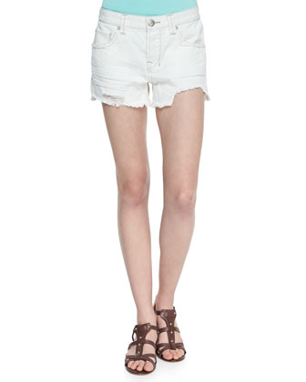 Sharkbite Denim Shorts, White