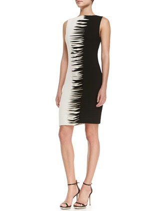 Sleeveless Contrast Cross-Stitch Sheath Dress, Black/White