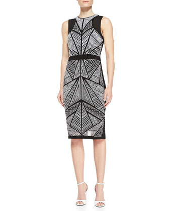 Sleeveless Mosaic-Front Sheath Dress, Black/Ivory