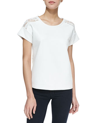 Whitworth Geometric Cutout Faux Leather Tee, White