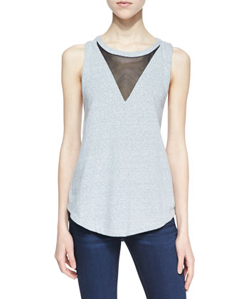 Eppy Mesh Racerback Tank Top, Gray/Black