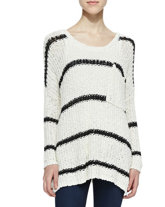 Greenwich Village Striped Knit Pullover, Ivory/Black