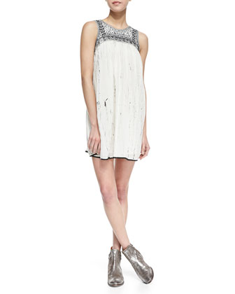 Southwestern Bib Open Back Mini Dress, Ivory